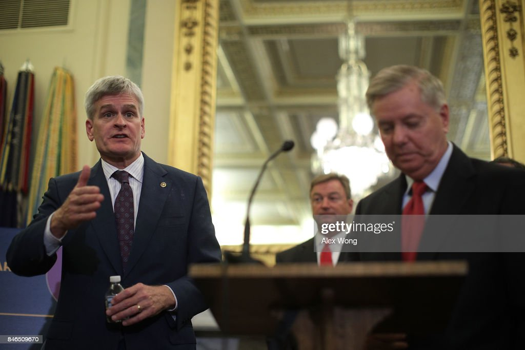 U.S. Sen. Bill Cassidy (R-LA) speaks as Sen. Dean Heller (R-NV) and Sen. Lindsey Graham (R-SC) listen during a news conference on health care September 13, 2017 on Capitol Hill in Washington, DC. Senators Graham, Cassidy, Heller and Johnson unveiled a proposed legislation to repeal and replace the Obamacare.