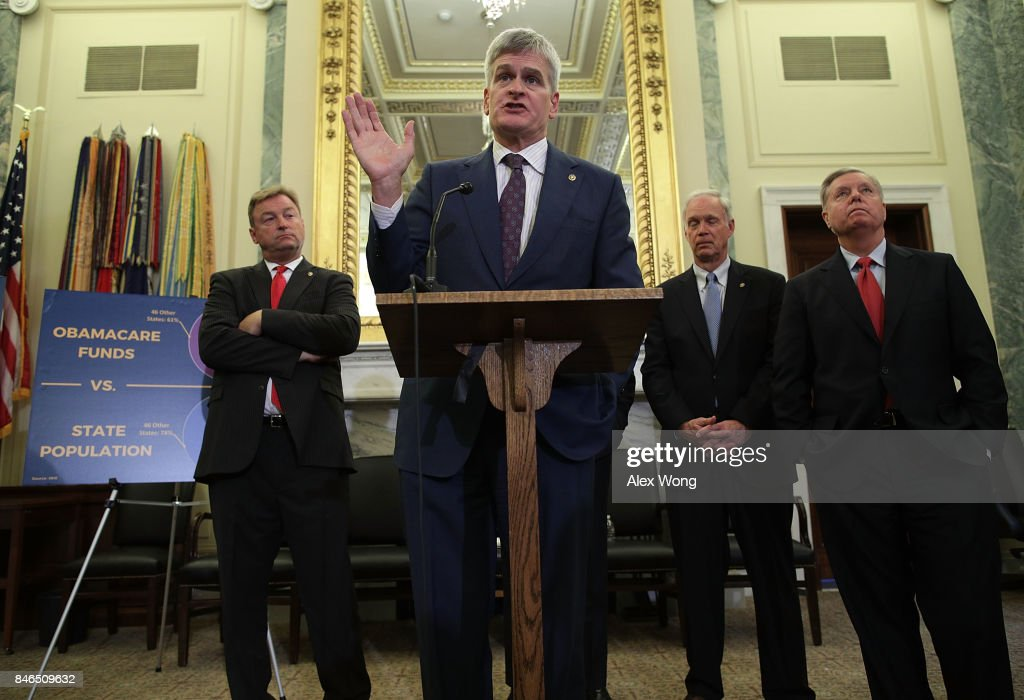 U.S. Sen. Bill Cassidy (R-LA) (2nd L) speaks as (L-R) Sen. Dean Heller (R-NV), Sen. Ron Johnson (R-WI) and Sen. Lindsey Graham (R-SC) listen during a news conference on health care September 13, 2017 on Capitol Hill in Washington, DC. Senators Graham, Cassidy, Heller and Johnson unveiled a proposed legislation to repeal and replace the Obamacare.