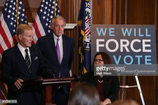 Sen Bill Nelson is flanked by Ed Markey and Tammy Duckworth while speaking about a Congressional Review Act resolution that would undo action by the...