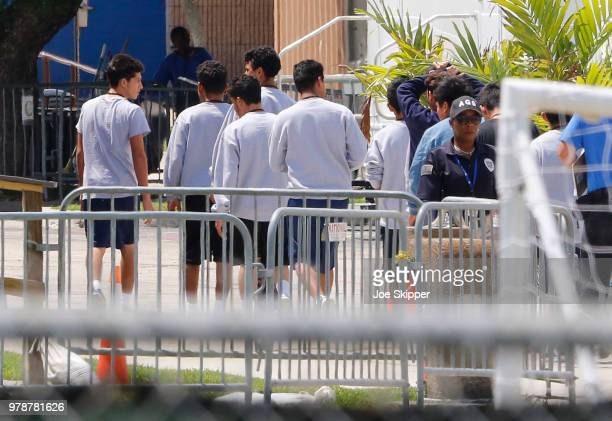 S Sen Bill Nelson left and US Rep Debbie Wasserman Schultz center are denied access as they attempted to visit the Homestead Temporary Shelter For...