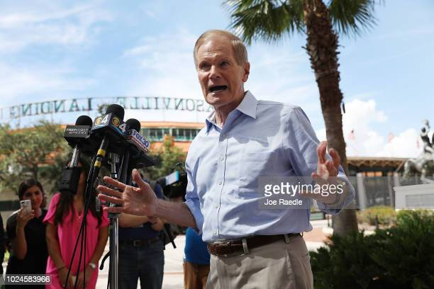 Sen Bill Nelson speaks to the media as he visits the Jacksonville Landing where a shooting occured in the GLHF Game Bar on August 27 2018 in...