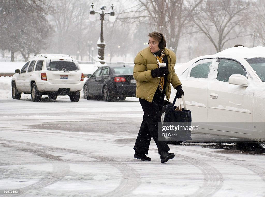 Sen. Blanche Lincoln, D-Ark., arrives at the Capitol during a snow storm to vote on the defense bill on Saturday morning, Dec. 19, 2009.