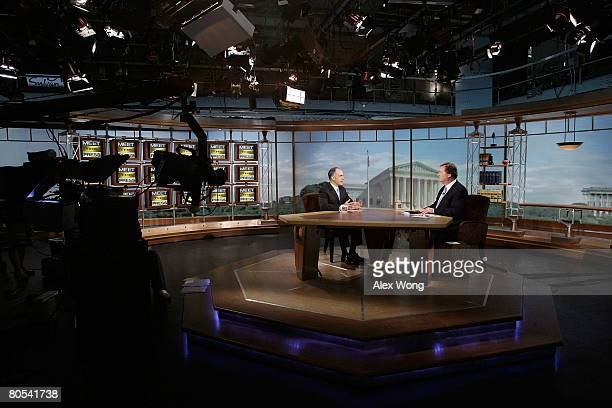 US Sen Bob Casey speaks as he is interviewed by moderator Tim Russert during a taping of 'Meet the Press' at the NBC studios April 6 2008 in...