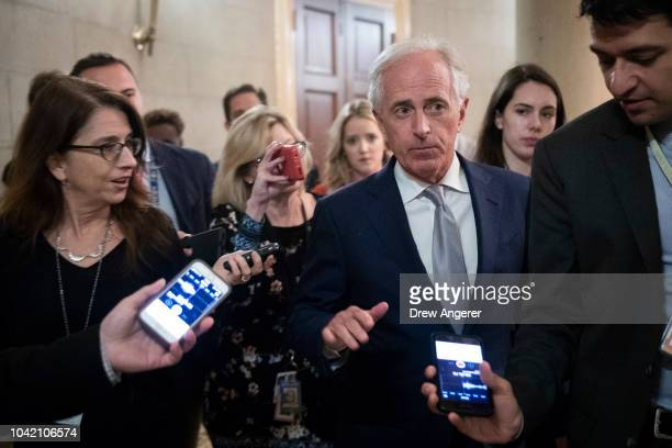 Sen Bob Corker arrives at a closeddoor GOP caucus meeting following the Senate Judiciary Committee hearing with Dr Christine Blasey Ford and Supreme...