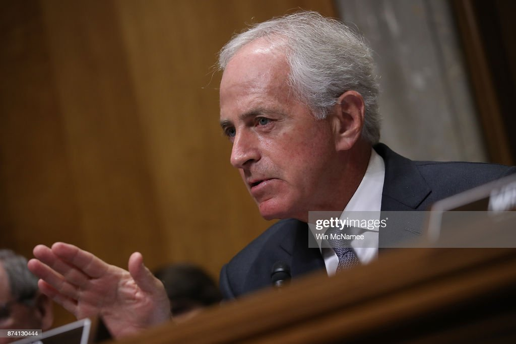 Sen. Bob Corker (R-TN), Chairman of the Senate Foreign Relations Committee asks questions during a committee hearing November 14, 2017 in Washington, DC. The committee heard testimony on the 'Authority to Order the Use of Nuclear Weapons.'