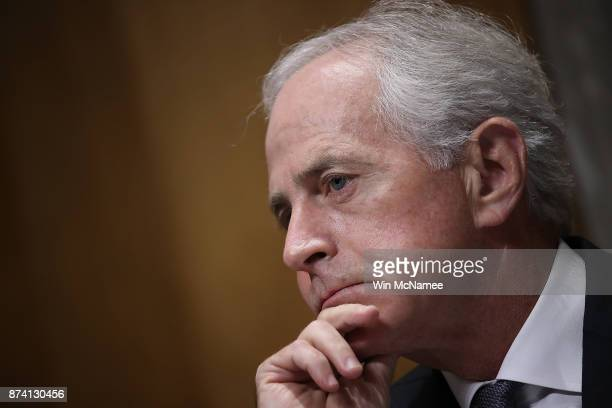 Sen Bob Corker Chairman of the Senate Foreign Relations Committee listens to testimony during a committee hearing November 14 2017 in Washington DC...
