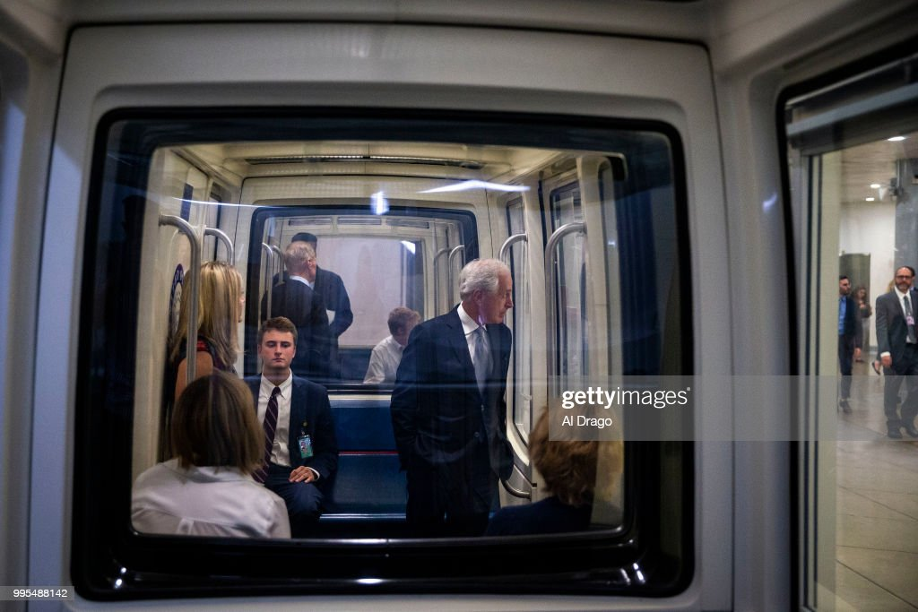Sen. Bob Corker (R-TN) heads to the weekly Senate Republicans policy luncheon, on Capitol Hill, on July 10, 2018 in Washington, DC.