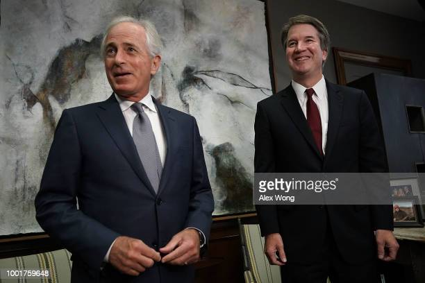 S Sen Bob Corker meets with Supreme Court nominee Judge Brett Kavanaugh in his office on Capitol Hill July 18 2018 in Washington DC Kavanaugh is...