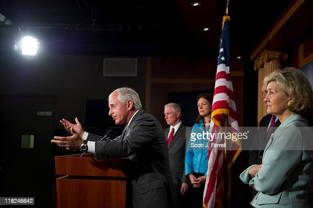 Sen Bob Corker RTenn Sen Jeff Sessions RAla Sen Kelly Ayotte RNH and Sen Kay Bailey Hutchison RTexas during a news conference after Senate leaders...