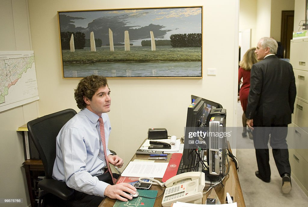Sen. Bob Corker, R-Tenn., shows off the artwork hanging on thew walls of his offices in the Dirksen Senate Office Building on Thursday, Jan. 22, 2009.