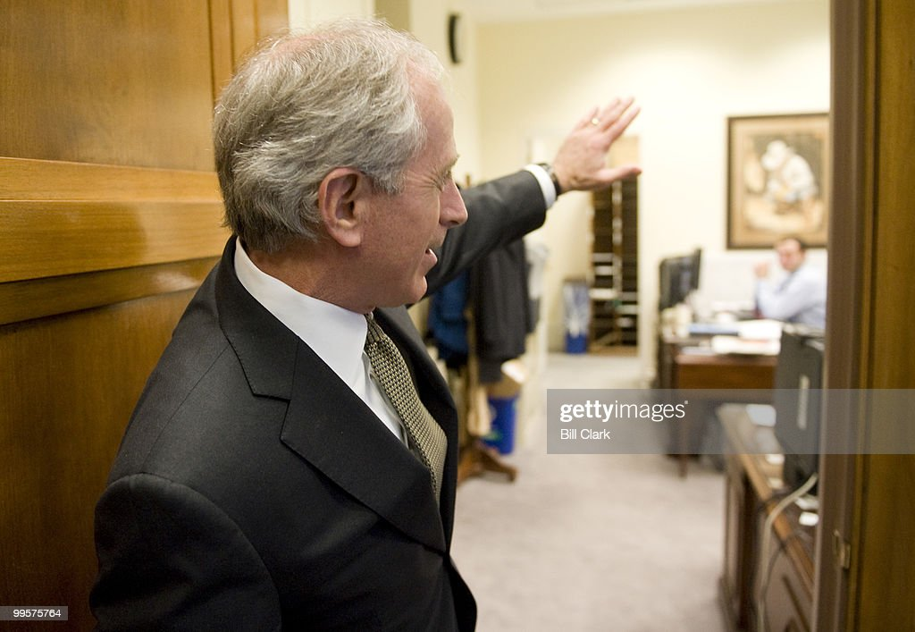 Sen. Bob Corker, R-Tenn., shows off the banking shop area of his offices in the Dirksen Senate Office Building on Thursday, Jan. 22, 2009.
