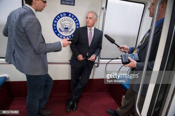 Sen Bob Corker RTenn talks with reporters in the basement of the Capitol after the Senate Policy luncheons on October 17 2017