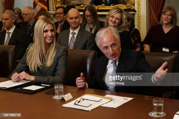 S Sen Bob Corker speaks as daughter of President Donald Trump and White House adviser Ivanka Trump listens during a meeting on investments at the US...