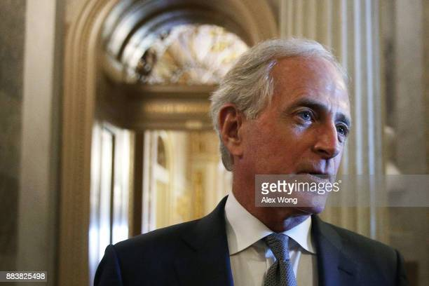 S Sen Bob Corker speaks to members of the media at the Capitol December 1 2017 in Washington DC Senate GOPs indicate that they have enough votes to...