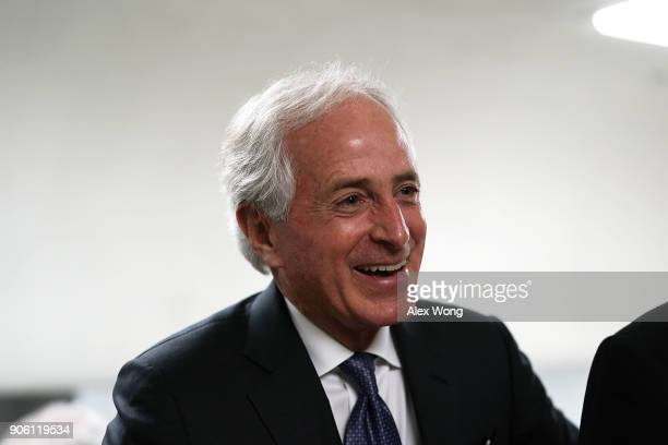 S Sen Bob Corker speaks to members of the media in the basement of the US Capitol prior to a Senate Republican Policy Luncheon January 17 2018 in...