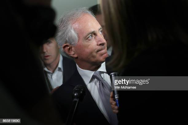 Sen Bob Corker speaks to members of the press on Capitol Hill about US President Donald Trump October 24 2017 in Washington DC Corker and Trump have...