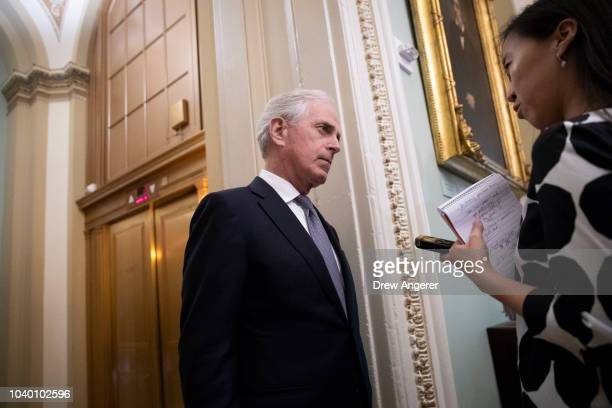 Sen Bob Corker speaks to reporters before the weekly GOP policy luncheon on Capitol Hill September 25 2018 in Washington DC Christine Blasey Ford who...