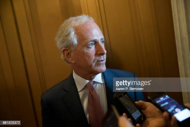 Sen Bob Corker speaks to reporters on Capitol Hill May 10 2017 in Washington DC Senators from both parties are scrambling to react to President...