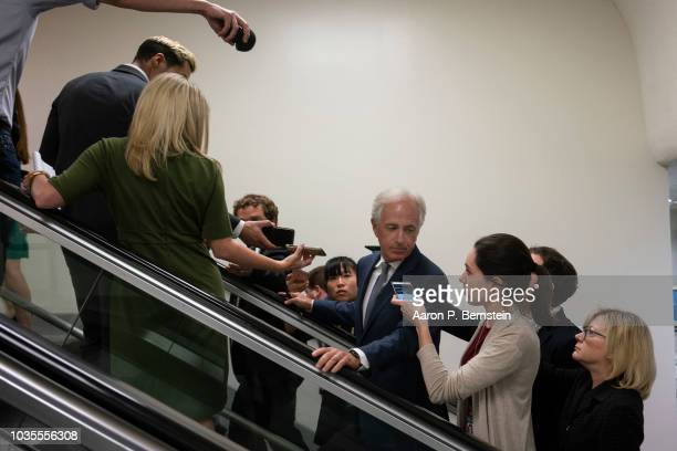 S Senate Majority Leader Mitch McConnell flanked by Sens Roy Blunt John Thune and John Cornyn arrive to speak with reporters ahead of the weekly...