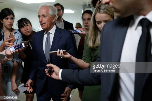 S Sen Bob Corker speaks with reporters ahead of the weekly policy luncheons on Capitol Hill September 18 2018 in Washington DC Senate Majority Leader...
