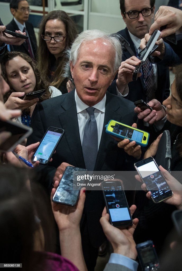 Sen. Bob Corker (R-TN) talks to reporters as he heads to a vote on amendments to the fiscal year 2018 budget resolution, on Capitol Hill, October 19, 2017 in Washington, DC.