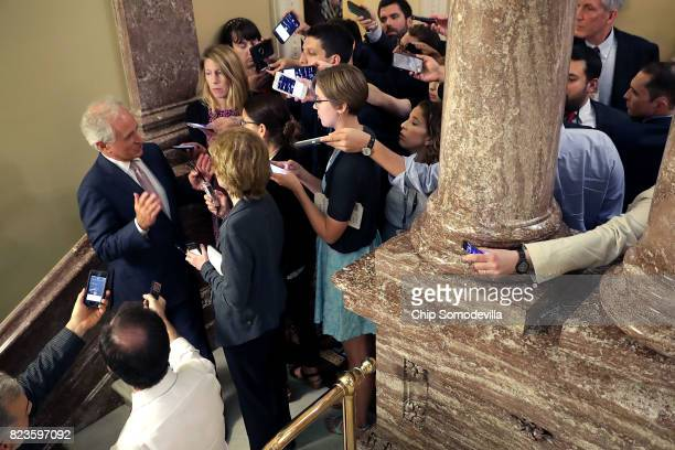 Sen Bob Corker talks to reporters following a Republican caucus meeting in the US Capitol July 27 2017 in Washington DC Senate Republicans are...