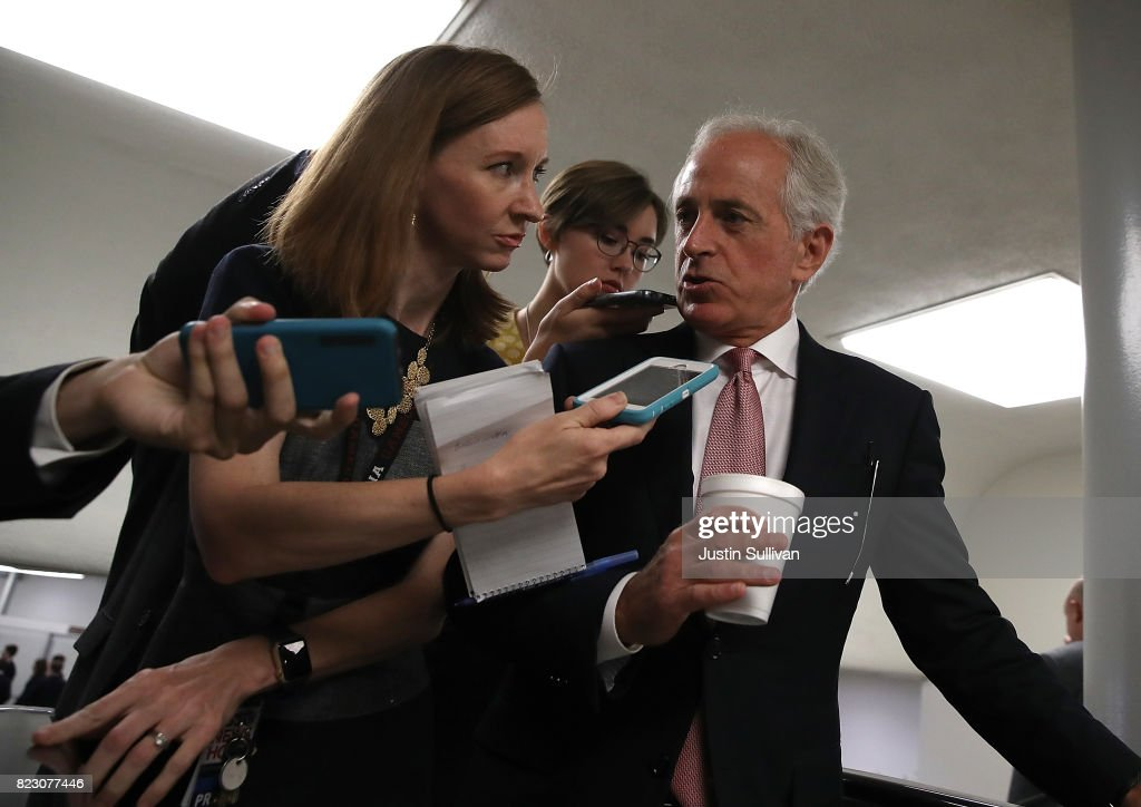U.S. Sen. Bob Corker (R-TN) talks with reporters as he walks to the U.S. Capitol on July 26, 2017 in Washington, DC. Sen. Corker was one of nine republican senators to vote against the health care bill in the Senate. The U.S. Senate will continue debate on the Better Care Reconciliation Act.