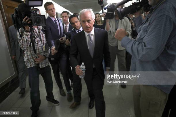 Sen Bob Corker walks to a committee hearing after speaking to members of the press on Capitol Hill about US President Donald Trump October 24 2017 in...