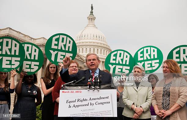 Sen Bob Menendez DNJ conducts a news conference at the House Triangle to mark the 40th anniversary of the passage of the Equal Rights Amendment The...