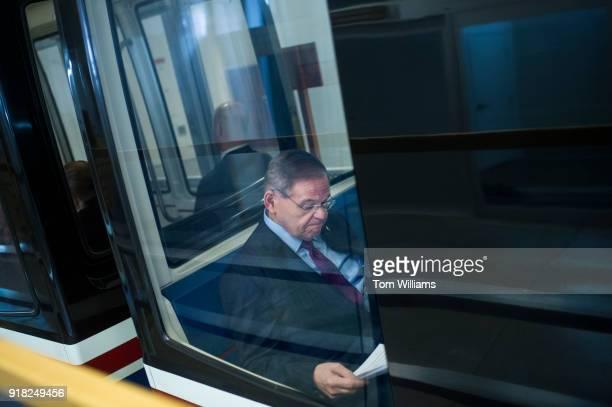 Sen Bob Menendez DNJ rides the Senate subway to the Capitol on February 14 2018