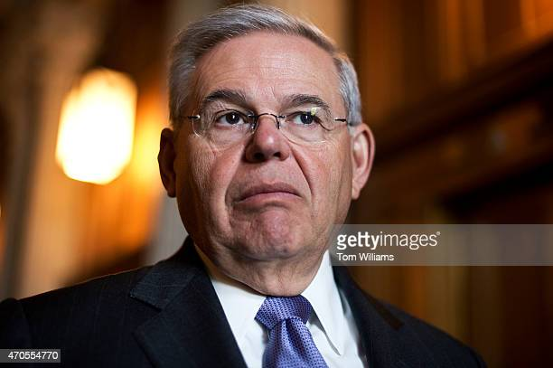 Sen Bob Menendez DNJ talks with reporters before the senate policy luncheons in the Capitol April 21 2015