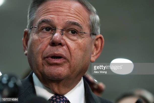 Sen Bob Menendez speaks to members of the media after a closed door briefing by Central Intelligence Agency Director Gina Haspel to members of Senate...