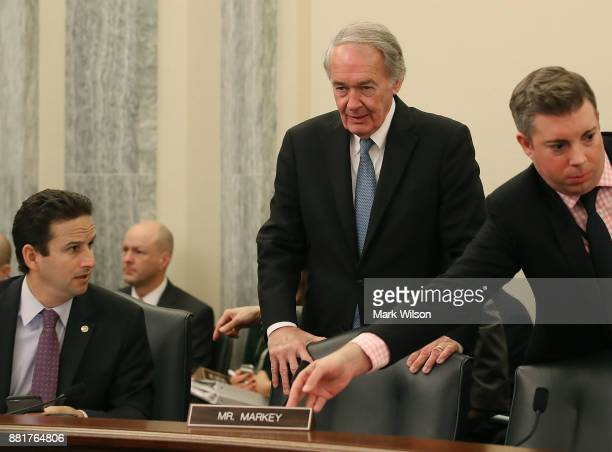 Sen Brian Schatz and Sen Edward Markey attends a Senate Commerce Science and Transportation Committee confirmation hearing for Barry Lee Myers to...