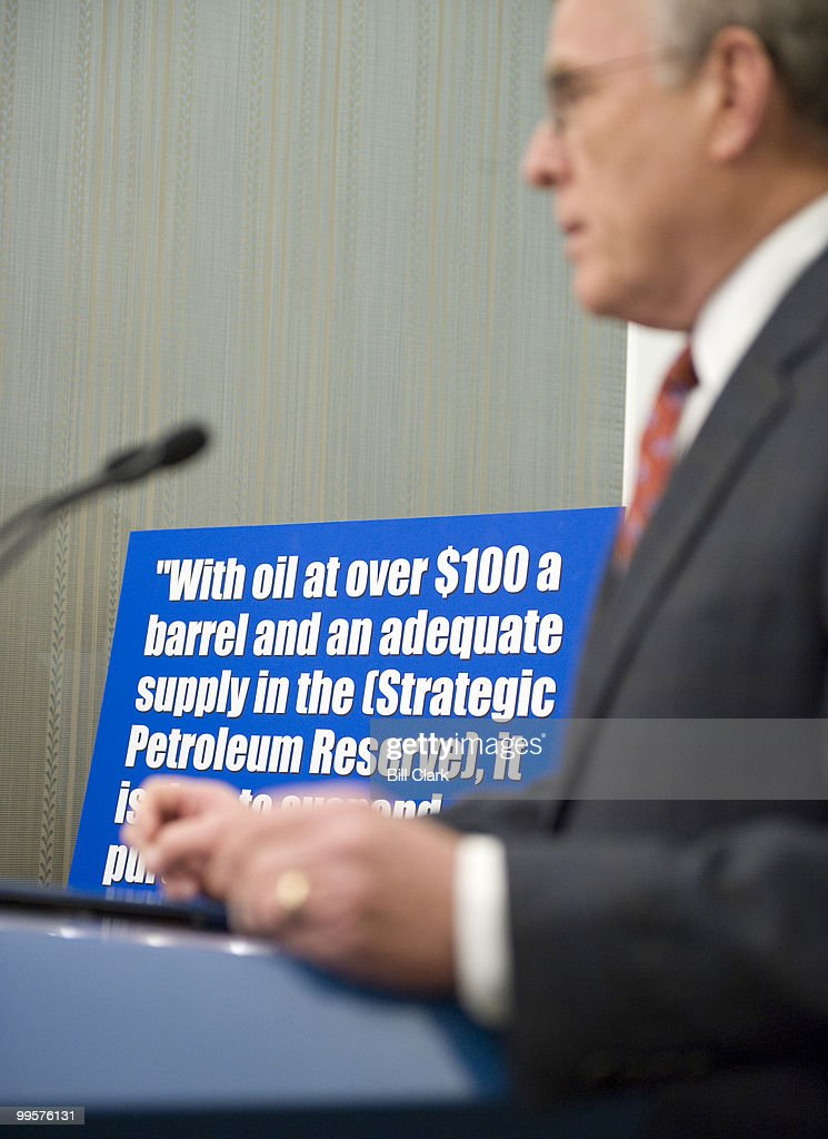 Sen. Byron Dorgan, D-N. Dak., participates in a news conference in the U.S. Capitol on Monday, May 12, 2008, to discuss the Democratic proposal to suspend filling the nearly full Strategic Petroleum Reserve. Sen. Jeff Bingaman, D-N.M., also attended the event