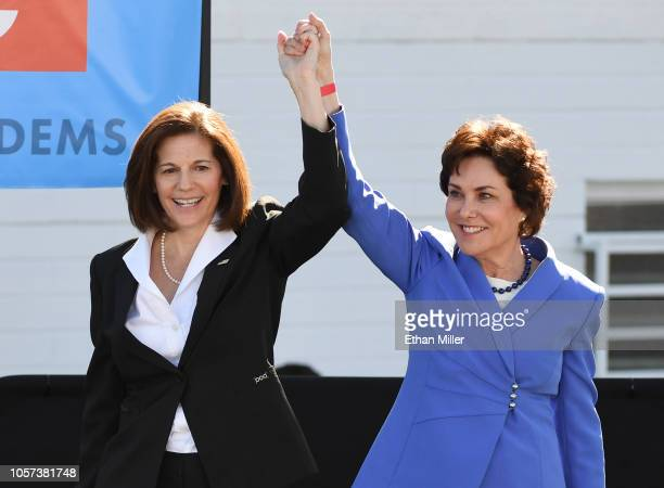 S Sen Catherine Cortez Masto introduces US Rep and US Senate candidate Jacky Rosen during a rally at the Culinary Workers Union Hall Local 226...