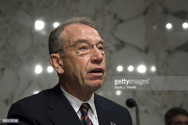 Sen Charles E Grassley RIowa delivers his opening statement during the Senate Judiciary hearing for President Obama's US Supreme Court nominee Sonia...