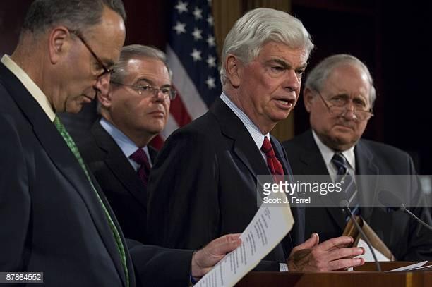 Sen Charles E Schumer DNY Sen Robert Menendez DNJ Sen Christopher J Dodd DConn and Sen Carl Levin DMich during a news conference after the Senate...