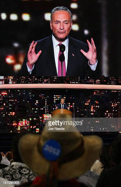 S Sen Charles E Schumer speaks during day two of the Democratic National Convention at Time Warner Cable Arena on September 5 2012 in Charlotte North...