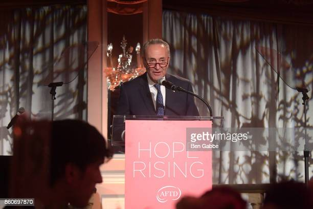 Sen Charles E Schumer speaks on stage during The Association for Frontotemporal Degeneration's Hope Rising Benefit at The Pierre Hotel on October 12...