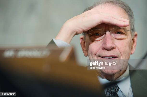Sen Charles Grassley RIowa attends the Senate Agriculture Committee confirmation hearing for Sonny Perdue nominee for Secretary of Agriculture in...