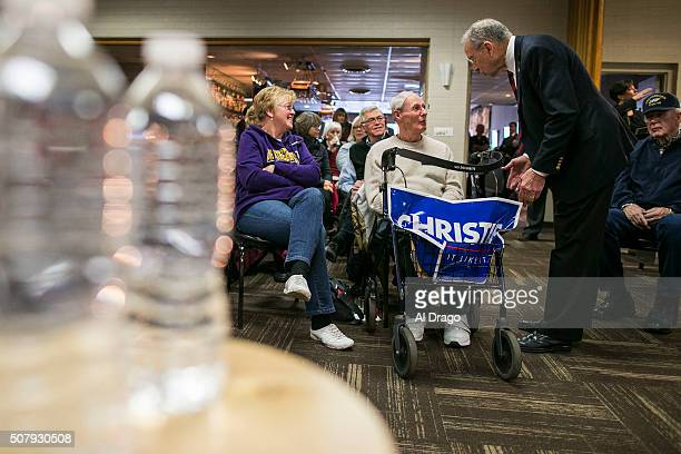 STATES JANUARY 30 Sen Charles Grassley RIowa greets Richard and Linda Pint lifelong residents of Waterloo Iowa before introducing Republican...