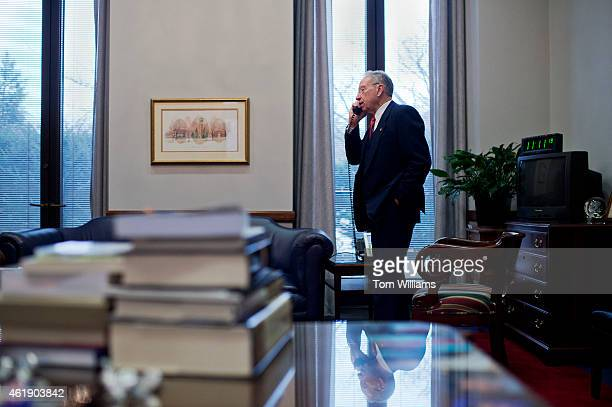 Sen Charles Grassley RIowa is interviewed by an Iowa radio station in his Hart Building office January 21 2015