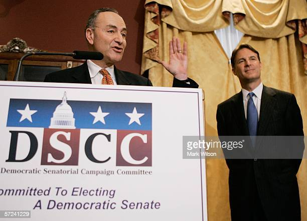 S Sen Charles Schumer and Sen Evan Bayh speak about new polling data during a news conference April 3 2006 in Washington DC Schumer said the polling...