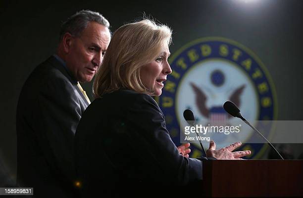 S Sen Charles Schumer and Sen Kirsten Gillibrand speak to the media during a news conference January 4 2013 on Capitol Hill in Washington DC Schumer...