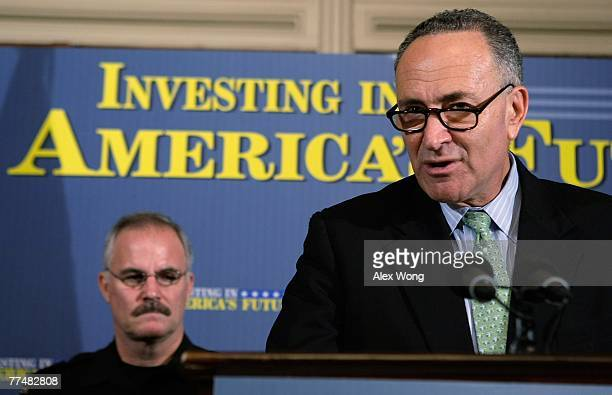 S Sen Charles Schumer as Police Chief of Montgomery County of Maryland J Tom Manger listens during a news conference October 24 2007 on Capitol Hill...