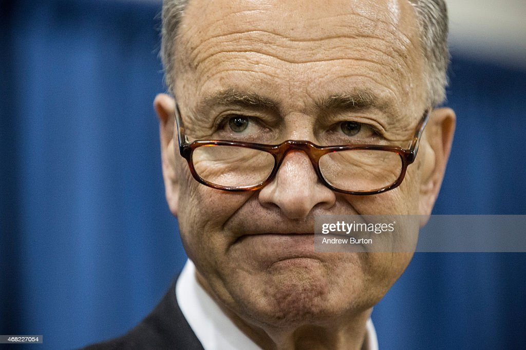 Chuck Schumer Joins NYC Mayor De Blasio For Press Conference In Brooklyn