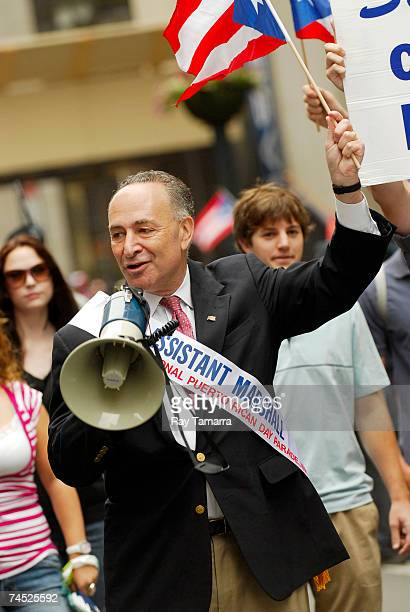 Sen Charles Schumer attends the 50th Anniversary National Puerto Rican Day Parade along 5th Avenue June 10 2007 in New York City