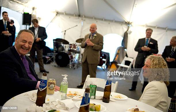 Sen Charles Schumer DNY and musician Carol King were guests at a fundraiser for Rep Gary Ackerman DNY center held at Sewell Belmont House featuring...