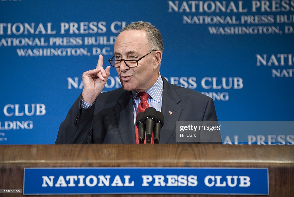 Sen. Charles Schumer, D-N.Y., chairman of the Democratic Senatorial Campaign Committee, speaks about the 2008 U.S. Senate races at the National Press Club on Tuesday, Oct. 21, 2008. Sen. John Ensign, R-Nev., chairman of the National Republican Senatorial Committee, also spoke.