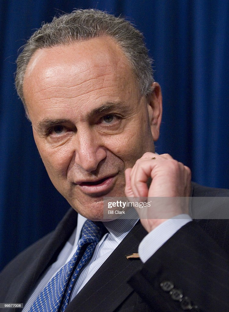 Sen. Charles Schumer, D-N.Y., discusses Attorney General Alberto Gonzales' upcoming appearance before the Senate Judiciary Committee during a news conference on Capitol Hill on Wednesday, April 18, 2007.